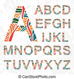 Set of doodle letters with abstract pattern on them.
