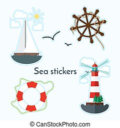 Set of sea object - lighthouse, sail boat, ship wheels and lifebuoy.