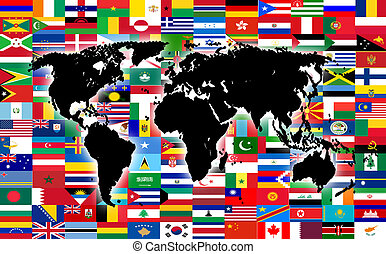 world map on the background of flags
