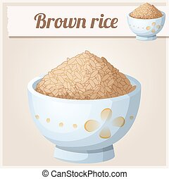 Bowl of brown rice. Detailed Vector Icon. Series of food and...