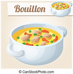 Bouillon with meat and vegetables. Detailed Vector Icon....