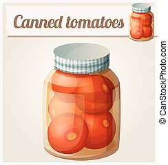 Canned tomatoes. Detailed Vector Icon. Series of food and...