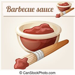 Barbecue sauce. Detailed Vector Icon. Series of food and...