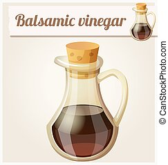 Balsamic vinegar. Detailed Vector Icon. Series of food and...