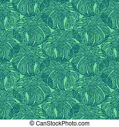 Monstera leaves illustration in paisley style Tropical...