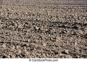 Plowed field in the spring, macro