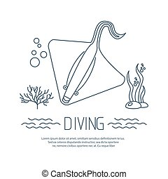 Diving icon with Stingray and bubbles Vector