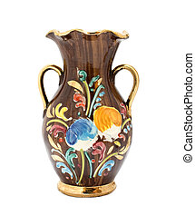 Kitsch vase with floral pattern and gilded details on white background.