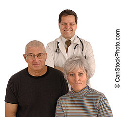 Senior Healthcare - Senior couple and doctor facing camera...