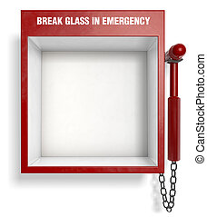 Break Glass in Emergency - An empty fire extinguisher...