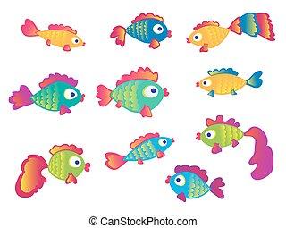 Fish set isolated on white background.