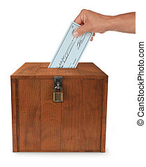 Submitting a Vote - A mans hand putting an envelope in the...