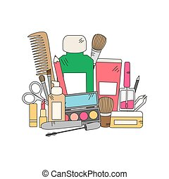 Cosmetics and fashion background with make up artist objects...
