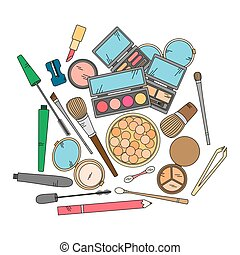 Cosmetics and fashion background with make up artist...