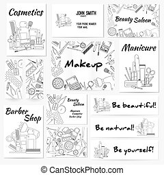 Set of banners, posters and business card with make up...