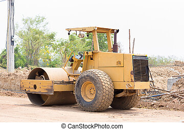 Steamroller working at a construction site.