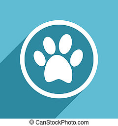 foot icon, flat design blue icon, web and mobile app design...