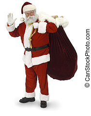 Santa Waving - Full Santa standing, waving at the camera on...