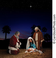 Christmas Nativity with Santa - Christmas nativity scene...