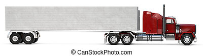 18 wheeler - An 18 wheeler Semi-Truck on white.