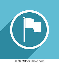 flag icon, flat design blue icon, web and mobile app design...