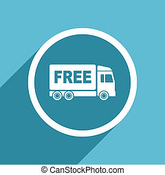 free delivery icon, flat design blue icon, web and mobile...