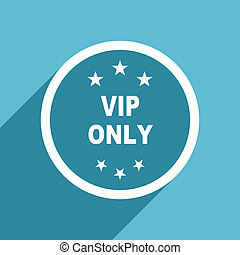 vip only icon, flat design blue icon, web and mobile app...