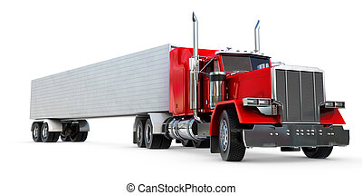 Big 18 wheeler - An 18 wheeler Semi-Truck on white.