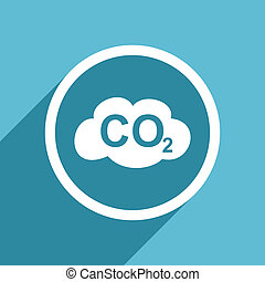 carbon dioxide icon, flat design blue icon, web and mobile...