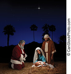 Christmas Nativity with Santa Claus - Christmas nativity...