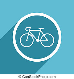 bicycle icon, flat design blue icon, web and mobile app...