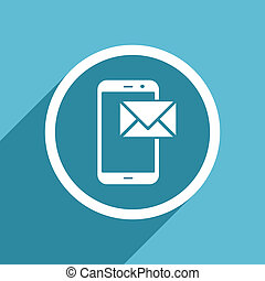mail icon, flat design blue icon, web and mobile app design...