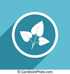 leaf icon, flat design blue icon, web and mobile app design...
