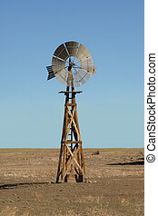 Windmill water pump on the prairie