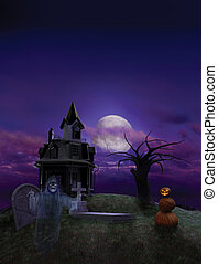 Halloween Flier Background - Halloween scenic designed as a...