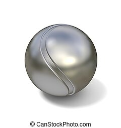 Silver tennis ball isolated 3D