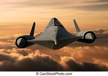 SR-71 Black Bird - SR-71 supersonic Black Bird flying above...