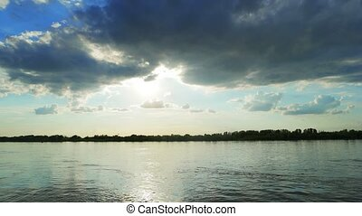 Sunset over a Volga-river near Astrakhan, Russia. Timelapse...