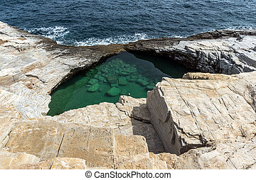 Giola Natural Pool, Thassos, Greece - Green waters of Giola...