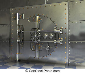 Vintage Safes - Opened Antique iron safe isolated on white...