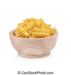 Pasta in wooden bowl, isolated on white background