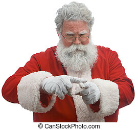 Shame on You! - Santa on a white background making a...