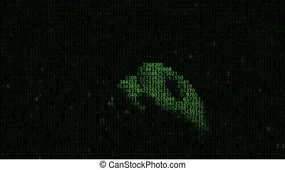 Hand in a computer code. Hand of artificial intelligence