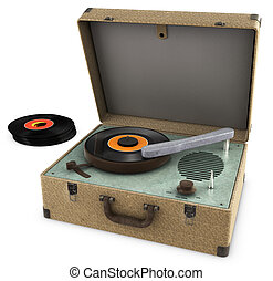 Record Player - A Vintage Record Player Isolated on white....