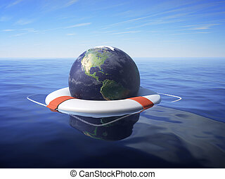 Global Crisis - An Earth floating in a lifesaver over sea...