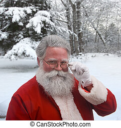 Winter Santa - Santa looking over the top of his glasses...