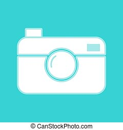 Digital photo camera icon. White icon with whitish...