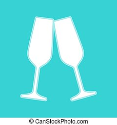 Sparkling champagne glasses. White icon with whitish...