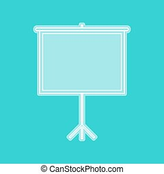 Blank Projection screen. White icon with whitish background...