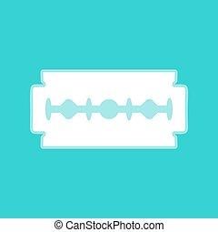 Razor blade sign. White icon with whitish background on...